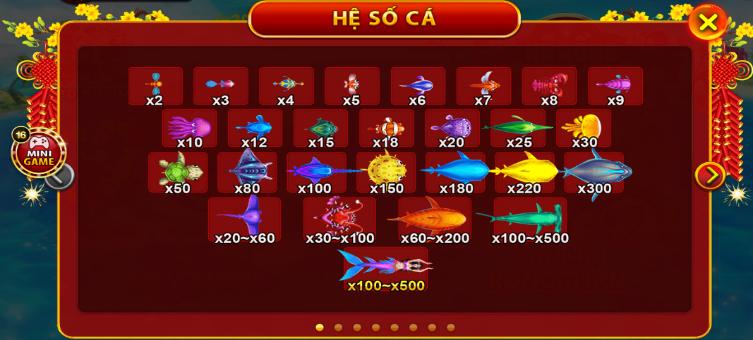 Đa dạng các loại cá để tăng phần kịch tính cho game